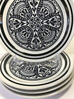Vtg NORITAKE Primastone MALAGA Stoneware Black and White Set of 4 Dinner Plates