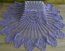 "32"" Hand Crochet Lace Purple Pineapple Round Doily Table Runner Wedding"