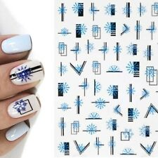Nail Art Stickers Decals Christmas Ice Blue Snowflakes Abstract Lines (HAN456x)