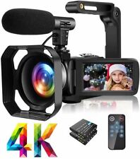 4K Video Camera Camcorder with Microphone Ultra HD 30MP YouTube Vlogging Camera