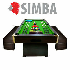 8Ft Pool Table LEONIDA GREEN Billiard indoor games with container benches