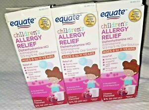 3 Equate 8 oz CHERRY Children's Allergy Relief Diphenhydramine HCI BENADRYL 9/21