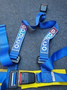 2 Sparco 3 Point Seat Belt Harness, blue - Pair
