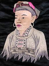 PORTRAIT de FEMME BRODERIE de SOIE ANCIENNE XIXème dite PEINTURE à l'AIGUILLE