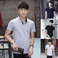 New Fashion Men's Stylish Slim Fit Short Sleeve Casual Polo Shirts T-shirt Tops
