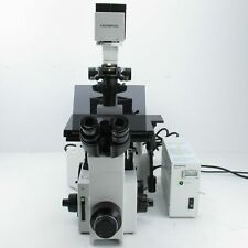 OLYMPUS IX70 INVERTED FLUORESCENCE DIC MICROSCOPE W/10X, 40X & 100X OBJECTIVES