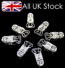 Pack of 5 Plastic dummy clips, dummy chain , strap, pacifier ~ Clear