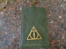 Harry Potter Deathly Hallows Logo ID Holder w Metal Chain Neck Strap Lanyard NEW