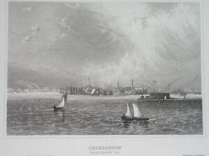 1850 nice UNUSUAL ORIGINAL UNITED STATES city CHARLESTON SOUTH CAROLINA panorama