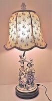 Antique German DRESDEN VOLKSTEDT COUPLE MUSICIANS CHERUB Porcelain Lamp Figurine