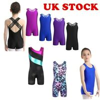 UK Kids Girls Gymnastics Ballet Dance Leotard Top Jumpsuits Sleeveless Dancewear