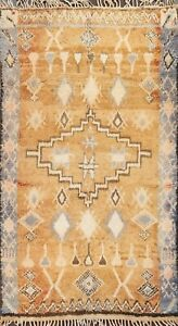 Antique Thick-Plush Moroccan Berber Checked Oriental Area Rug Wool Handmade 6x9