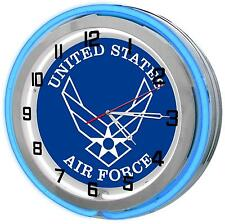 "United States Air Force 18"" Blue Neon Clock from Redeye Laserworks"