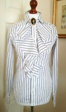 Authentic Ralph Lauren White Blue Striped Ruffle Shirt Blouse Top FR34 UK6 Fab!