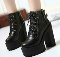 Women Lady Hot Gothic Lace Up Punk Platform Chunky High Heel Ankle Boots Shoes