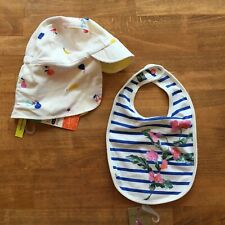 Lot 2 JOULES Oops Bib Reversible Sunny Hat Baseball Cap Floral 0-6 M Baby Girls