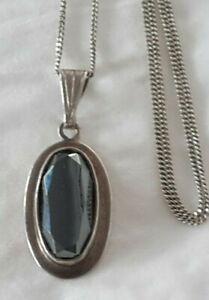 Vintage Oval Faceted Hematite Sterling Silver 925 Pendant Necklace (SN6)