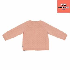 WHEAT Cardigan Size 6M / 68CM Wool Blend Pointelle Knit Long Sleeve Crew Neck