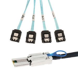 Mini sas SFF-8088 TO 4x SATA 7Pin,Mini-SAS Male TO SATA Adapter Cable 1M