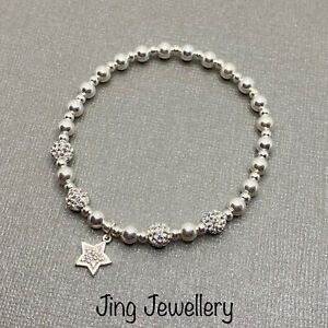 Sterling Silver 925 Beaded Stretch Stacking Bracelet With Sparkly Star Charm.