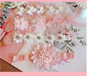 3PCS Newborn Baby Girls Flower Headband Soft Elastic Bow Knot Hair Band Set gift