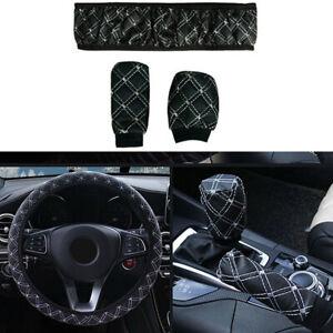 38cm Car Accessories PU Leather Steering Wheel Gear Handbrake Cover Black/White