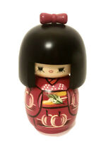 """Japanese Kokeshi Style Wooden Doll 4 3/4"""" Red Black Bow Cherries Hand Painted"""