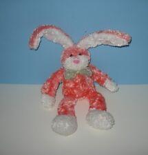 "10"" Floppy Coral Bunny Rabbit Stuffed Bean Plush w/ Sparkle Look & Poseable Ears"