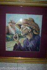 """""""THE OLD MAN AND THE WALL""""--BEAUTIFUL WATERCOLOR--SIGNED AND NICELY FRAMED"""
