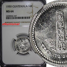 Guatemala Silver 1950 10 Centavos NGC MS64 Better Date Mintage-550,000 KM# 256.1