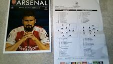 Arsenal V Paris Saint Germain Programme And Teamsheet 23/11/16