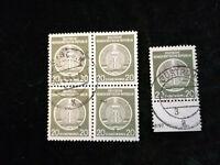 Deutschland DDR ,Dienstmarken 1954 - MiNr. 8  Sonderstempel 20 (Pf) 4er + UR