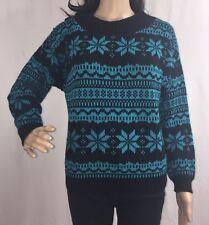 True Vintage Nicolette Ugly Christmas Sweater Large Turquoise Teal Black Spunky