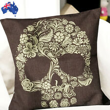 45x45cm Brown Floral Skull Linen Pillow Case Cushion Cover Decorative Hpica4584