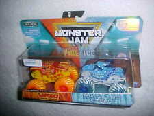 "MONSTER JAM ""MAX-D & MONSTER MUTT"" FIRE & ICE VHTF NEW SPIN MASTER 4X4 TRUCKS"