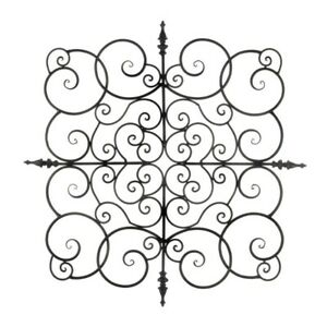 "Contemporary Large Square Iron Spiral Scrollwork Plaque Wall Decor 27"" x 27"""