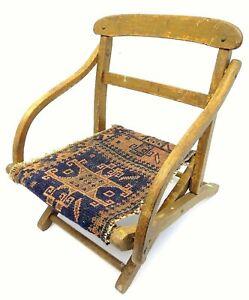 Antique Wood Wooden Blue & Red Oriental Prayer Rug Seat Kids Children's Chair