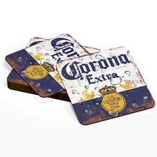 Corona Home Bar Pub Wood Coasters Man Cave Wooden Square Round Vintage Style Uk