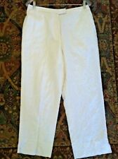 12 women white linen pant cropped lined capri trouser embroidered Deane size 12