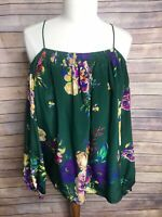 Anthropologie Maeve Sz 6 Tallie Green Floral Cold/Open Shoulder Silk Blouse