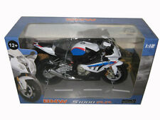 BMW S1000RR WHITE WITH BLUE 1/12 MOTORCYCLE MODEL BY AUTOMAXX 606202