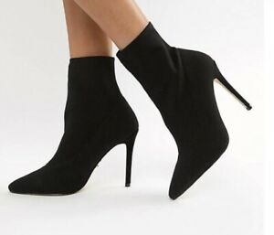 Lipsy Black Faux Suede Ankle Sock Boots Size 5