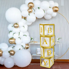 4Pcs Gold Baby Shower Transparent Cardboard Box Birthday Party Decor Favour Gift
