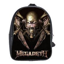 Megadeath Vintage Rock Concert Leather Backpack Schools Books Bags Laptops