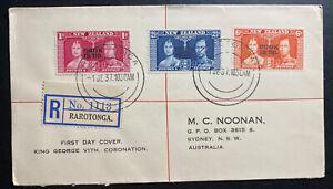 1937 Rarotonga Cook Island First Day Cover FDC Coronation KGVI King George 6