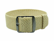 HNS ZULU 20MM Beige Perlon Tropic Braided Watch Strap With PVD Buckle