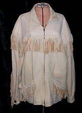 M. JULIAN ADVENTURES Santa Fe Vintage Beige Leather Fringe Jacket Large