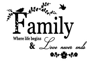 Family were life begins & love never ends Wall Art Home Decor/Wall decals