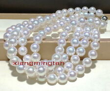 "long round AAAAA 36""10-11mm REAL south sea white akoya pearl necklace 14K gold"