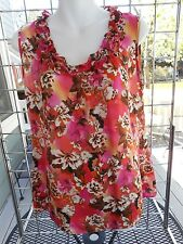 Elementz sleeveless top sz M-floral in pinks-ruffled neckline-New without tags